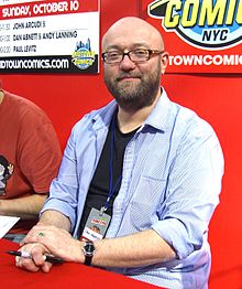 Abnett at the Midtown Comics booth at the New York Comic Con in Manhattan, 10 October 2010.