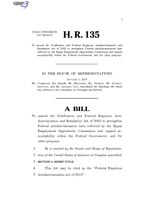 116th United States Congress H. R. 0000135 (1st session) - Federal Employee Antidiscrimination Act of 2019 A - Introduced in House.pdf