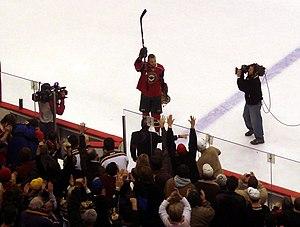 2007–08 Minnesota Wild season - Marián Gáborík salutes Minnesota Wild fans immediately after his five-goal game against the New York Rangers (December 20, 2007)
