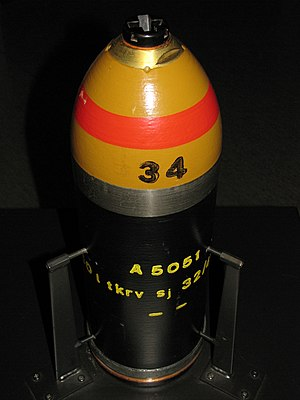Bourrelet - The unpainted bourrelet is between the yellow and black paint while the copper rotating band is near the bottom of the projectile.