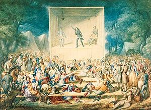 Restorationism - 1839 Methodist camp meeting, watercolor from the Second Great Awakening.