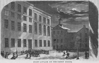 "Boston Vigilance Committee - ""Night Attack on the Court House,"" from Anthony Burns: A History by Charles E. Stevens"