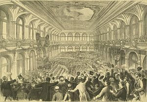United States presidential nominating convention - The 1876 Democratic National Convention at the Merchants Exchange Building in St. Louis, Missouri.