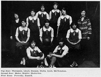 Pittsburgh Panthers women's basketball - The undefeated 1924–25 Pitt women's varsity basketball team went 10–0 with wins against Cincinnati, at NYU, and at Temple who had never before been defeated on their home floor.
