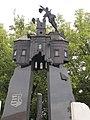 1956-os emlékmű, a nagytemplom szétlőtt tornya, Hősök tere, 2018 Mezőkövesd.jpg