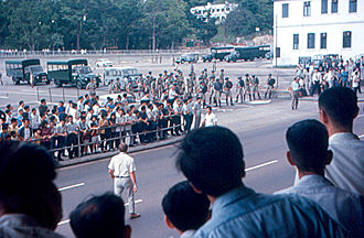 Hong Kong 1967 leftist riots - Image: 1967 Hong Kong riots Communists and Police