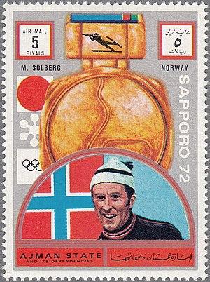 Magnar Solberg - Solberg on a stamp of Ajman