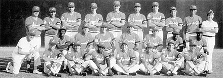 A black and white photograph of baseball players in uniforms and caps posed in three rows standing, sitting, and kneeing on a baseball field