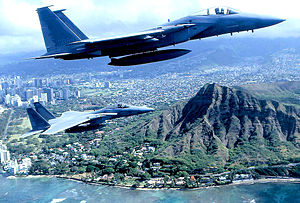 154th Wing - 199th Fighter Squadron - F-15 Eagles over Hawaii