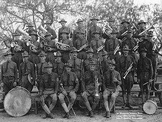 34th Infantry Division Band - 1st Inf Reg Band, MNARNG at Camp Llano Grande, TX.  c1916