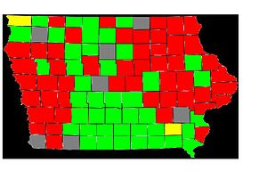 Howard Dean presidential campaign, 2004 - Map showing Iowa Results. Red indicates the county went for Kerry, Green for Edwards, and yellow for Dean, with gray counties being tied.