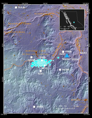 2007–2008 Nazko earthquakes - Overlapped cyan circles indicate the locations of earthquakes that were associated with the Nazko swarm.