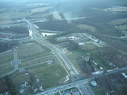 Aerial view of Clarksburg, Maryland in January 2007.