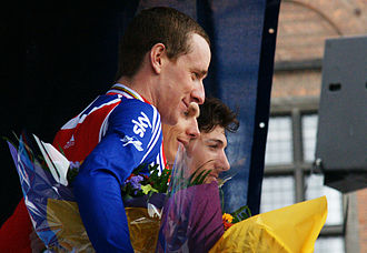 2011 UCI Road World Championships – Men's time trial - The podium (left to right): Bradley Wiggins, Tony Martin and Fabian Cancellara