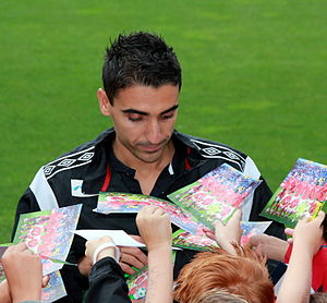 Mohammed Abdellaoue - Mohammed Abdellaoue signing autographs for fans in 2012.