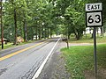 2017-07-21 12 29 14 View east along West Virginia State Route 63 (Monroe Draft) at U.S. Route 219 (Seneca Trail) in Organ Cave, Greenbrier County, West Virginia.jpg