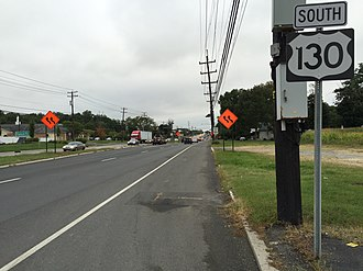 U.S. Route 130 - Route 130 heading southbound in Hamilton Township
