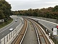 2018-10-26 12 41 31 View west along Virginia State Route 267 (Dulles Access Road) and the Silver Line of the Washington Metro from the overpass for Virginia State Route 695 (Idylwood Road) on the McLean-Pimmit Hills border in Fairfax County, Virginia.jpg