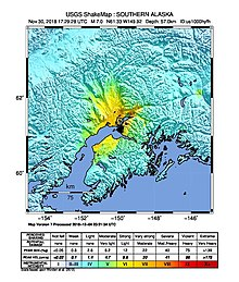 2018-11-30 Anchorage, Alaska M7 earthquake shakemap (USGS).jpg