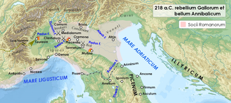 Battle of Ticinus - Cisalpine Gaul in 218 BC, depicting the Boii revolt and the Carthaginian invasion.