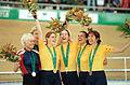 231000 - Cycling track Sarnya Parker Tania Modra Lyn Lepore Lynette Nixon gold bronze medals podium - 3b - 2000 Sydney medal photo.jpg