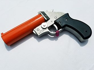 Flare gun - A single-shot, 26.5/25mm flare gun manufactured by Patel Ballistics. It is chambered in a different caliber than the Orion flare gun.