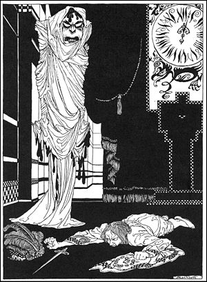 """The Masque of the Red Death - Illustration of Prince Prospero confronting the """"Red Death"""" by Arthur Rackham, 1935"""