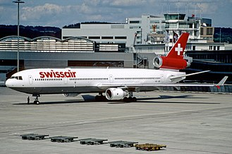 Swissair Flight 111 - HB-IWF, the aircraft involved in the accident, seen at Zurich Airport in July 1998, two months before the crash.
