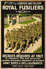 2nd City of London Battalion, Royal Fusiliers. Recruits required at once to complete this fine battalion LCCN2003668164