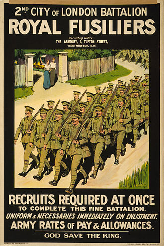 London Regiment (1908–1938) - A 1915 recruitment poster for 2nd City of London Battalion, Royal Fusiliers.