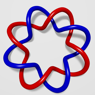 Linking number - The two curves of this (2,8)-torus link have linking number four.
