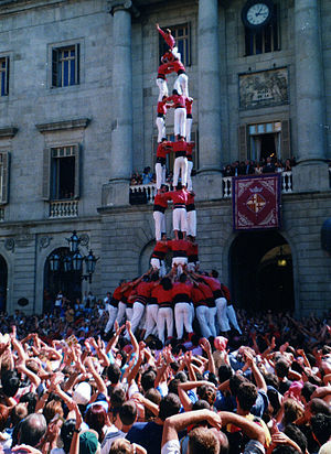 Plaça Sant Jaume - The Castellers de Barcelona in front of the City Hall