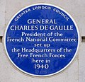 4 Carlton Gardens London plaque commemorating the headquarters of Charles de Gaulle.jpg