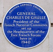 4 Carlton Gardens London plaque commemorating the headquarters of Charles de Gaulle