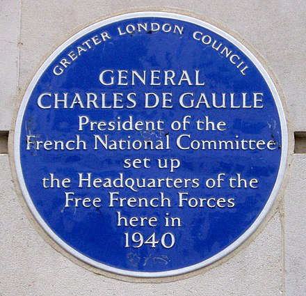 The plaque commemorating the headquarters of General de Gaulle at 4 Carlton Gardens in London during World War II