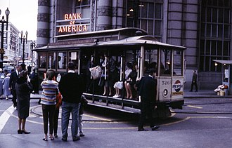 San Francisco cable car system - A cable car being turned around at the end of the line, August 1964