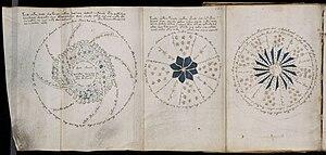 Folio 68r : Ces trois pages extraites du manuscrit incluent un schéma qui semble de nature astronomique.