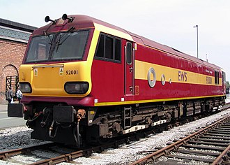 DB Cargo UK - EWS liveried Class 92 at Crewe Works in June 2003