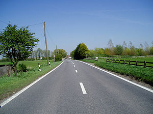 Romney Marsh - A view along the A259 just outside Brookland, Kent