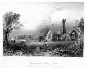 "Adare Friary - ""Augustinian Abbey, Adare (with the castle of the Fitzgeralds and the Francescan Abbey)"", 1842"