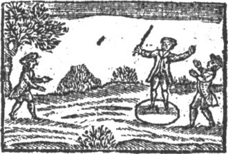 Tip-cat - Tip–cat being played. From A Little Pretty Pocket-Book, 1767