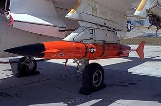 Beechcraft AQM-37 Jayhawk - An AQM-37A target under the wing of an A-6E Intruder.