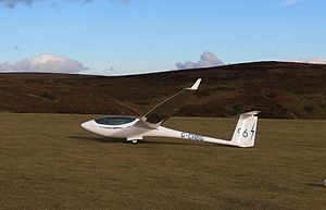 Imperial College Gliding Club - ICGC's ASW24 '96' at the Long Mynd.