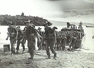 Battle of Wide Bay–Open Bay - The 16th Infantry Battalion landing at Kalai Plantation, March 1945