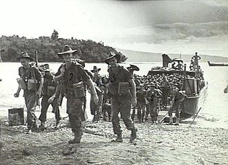 13th Brigade (Australia) - Troops from the 16th Infantry Battalion land on New Britain, March 1945.