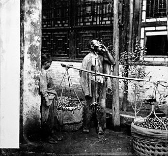 Peddler - A Peking fruit seller, c. 1869