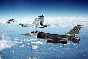 Fourth-generation jet fighter - A Soviet Su-27 escorted by a Montana Air National Guard F-16