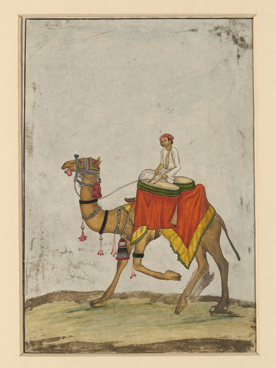 A camel with its rider playing kettle drums.