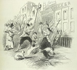 Dungarvan - Food riot in Dungarvan during the Irish Potato Famine. (The Pictorial Times, 1846)