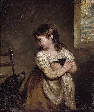 Robert Trewick Bone - Girl holding a kitten (1818, oil on copper)